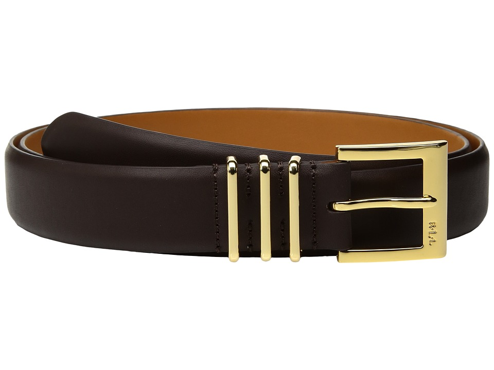 LAUREN Ralph Lauren - Classics Triple Metal Keeper Belt (Chocolate) Women's Belts
