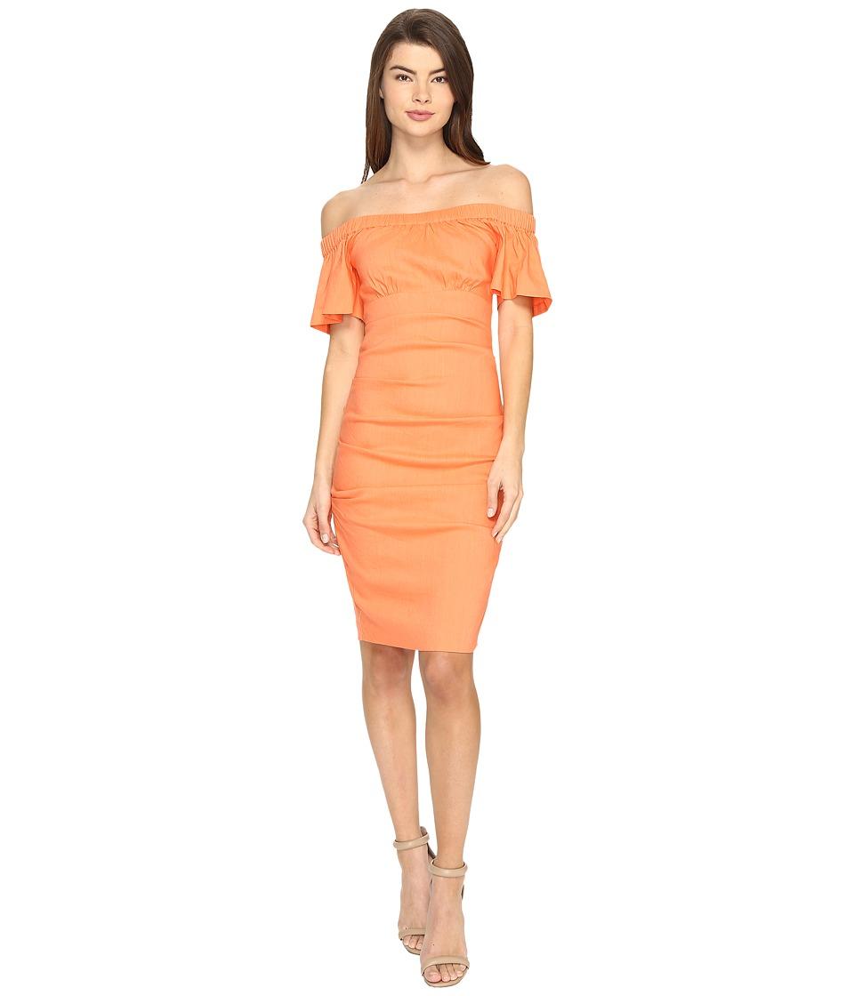 Nicole Miller - Natalia Stretch Linen Dress (Aloha Coral) Women's Dress