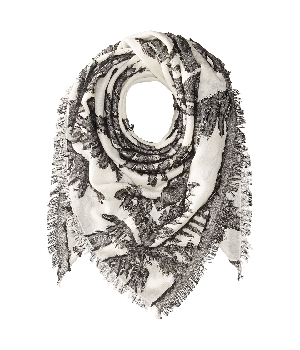 Echo Design - Palm Fringe Square Wrap Scarf (White) Scarves