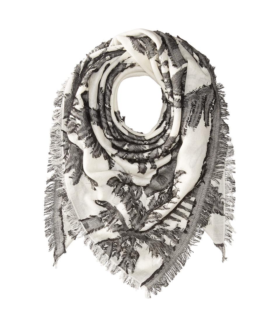 Echo Design - Palm Fringe Square Wrap Scarf (White) Scarves