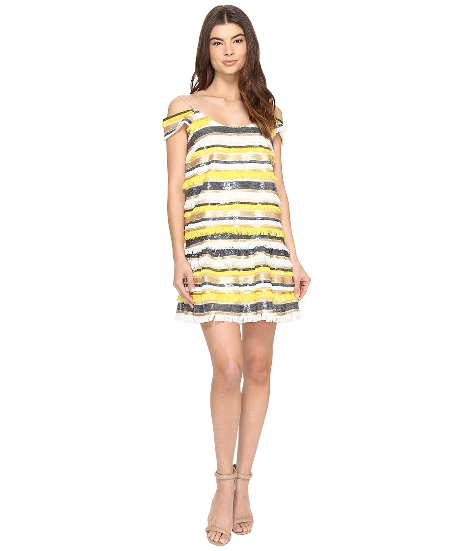 Nicole Miller - Trixi Striped Sequin Fringe Party Dress (Yellow Multi) Women's Dress