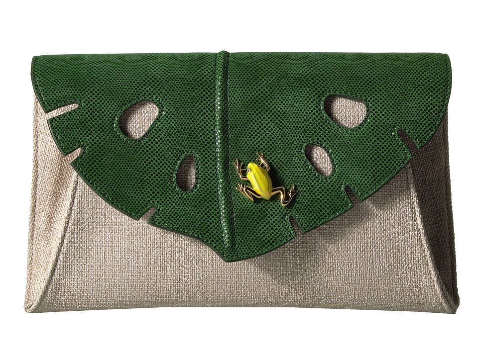 Charlotte Olympia - Monstera Clutch (Jungle Green/Grey) Clutch Handbags