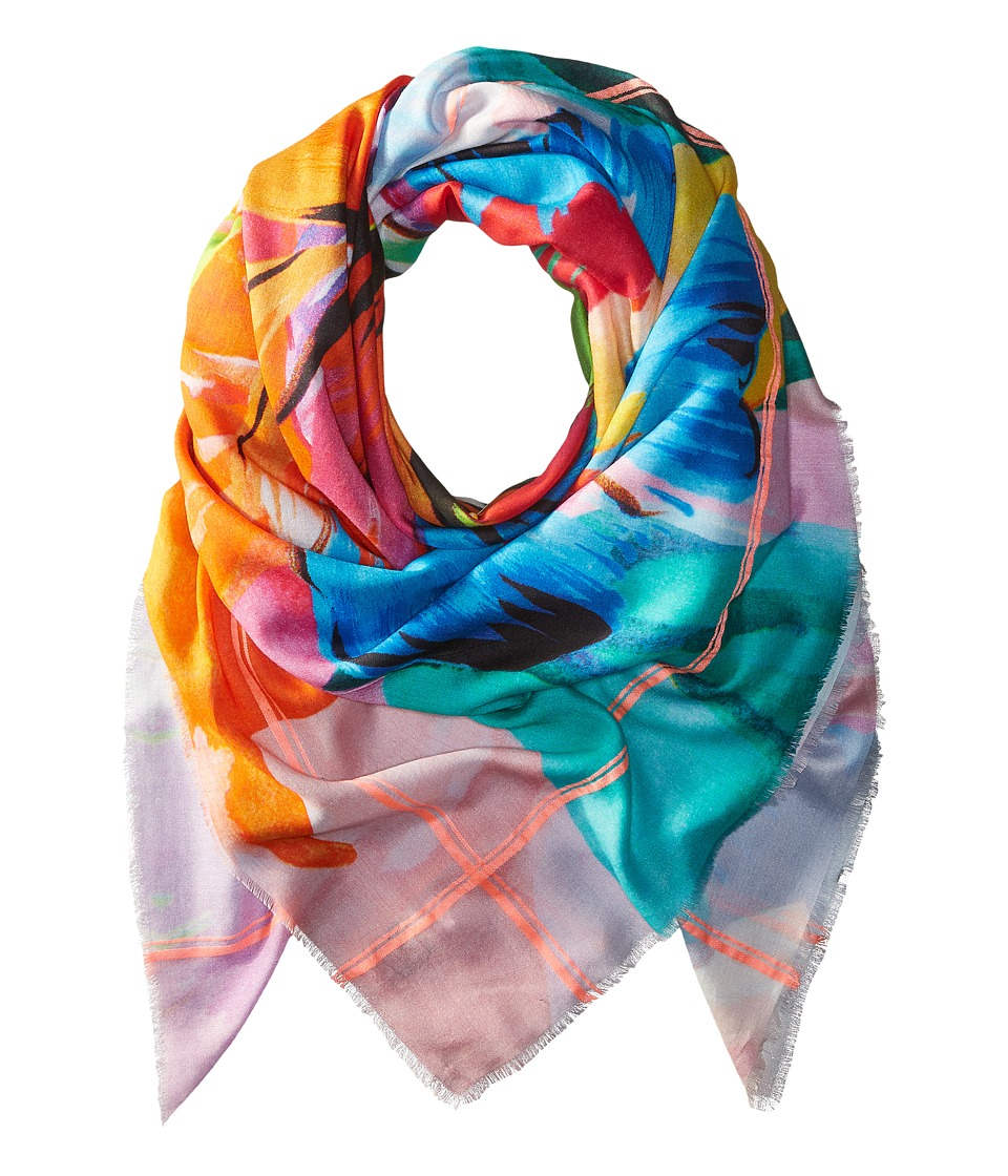 Echo Design - Cuba Blooms Square Pareo Scarf (White) Scarves