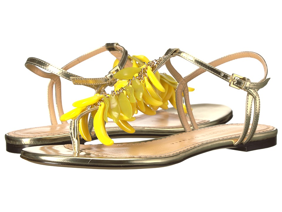 Charlotte Olympia - Banana Sandals (Champagne Metallic Calfskin/Perspex) Women's Sandals
