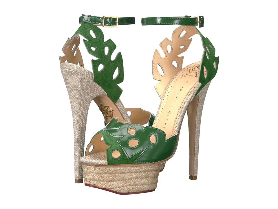 Charlotte Olympia Evangelina (Jungle Green/Natural Suede/Patent/Espadrille) High Heels