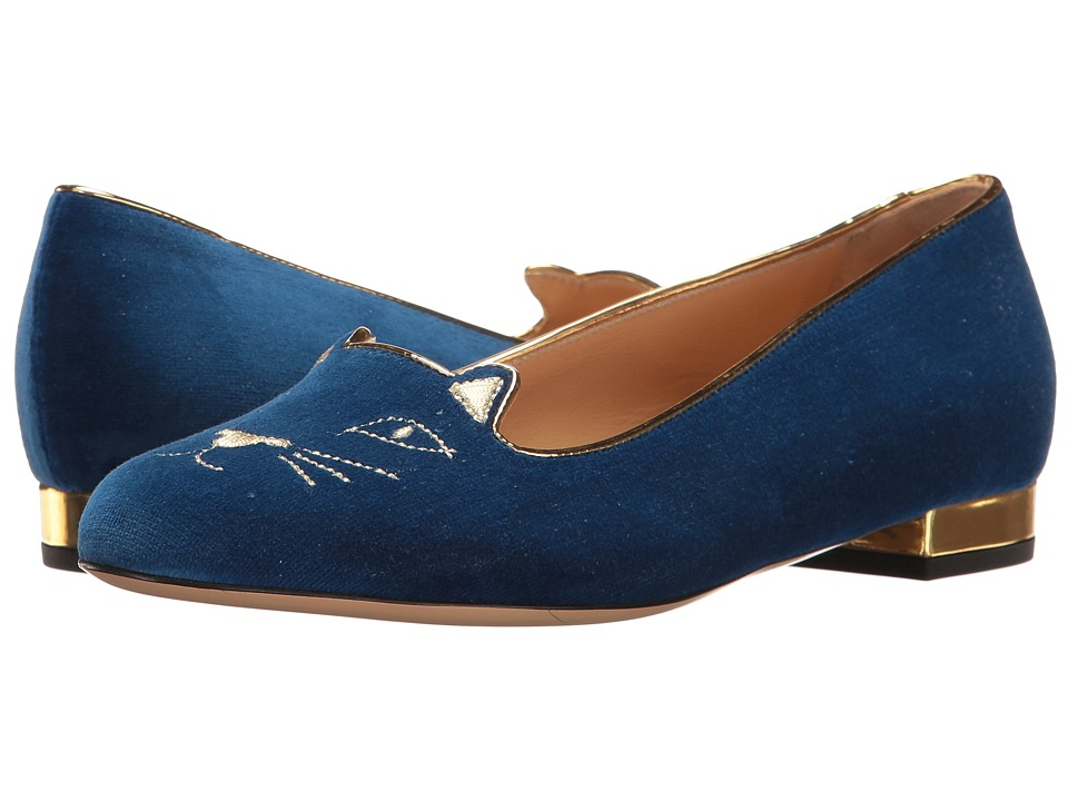 Charlotte Olympia - Kitty Flats (Dark Blue Velvet/Metallic Calfskin) Women's Flat Shoes