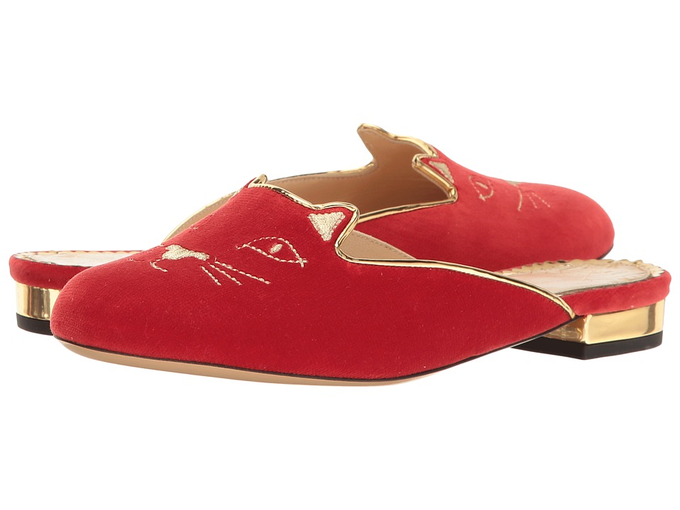 Charlotte Olympia - Kitty Slipper (Red Velvet/Metallic Calfskin) Women's Slippers