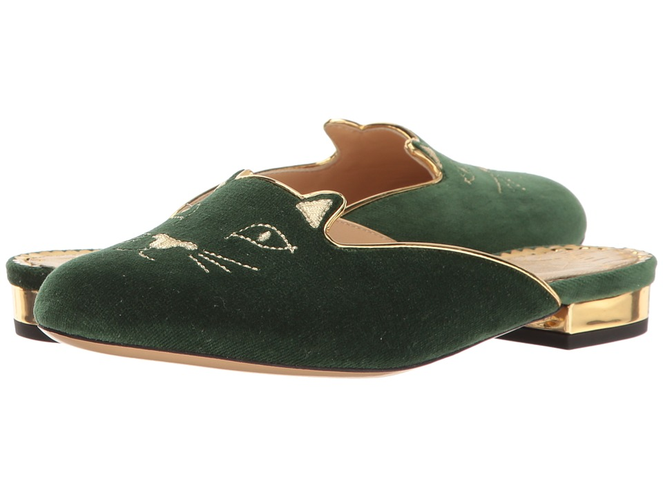 Charlotte Olympia - Kitty Slipper (Bottle Green Velvet/Metallic Calfskin) Women's Slippers