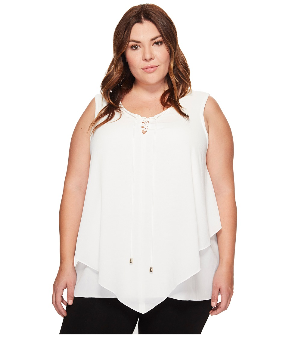 Vince Camuto Specialty Size - Plus Size Sleeveless Handkerchief Lace-Up Texture Blouse (New Ivory) Women's Blouse