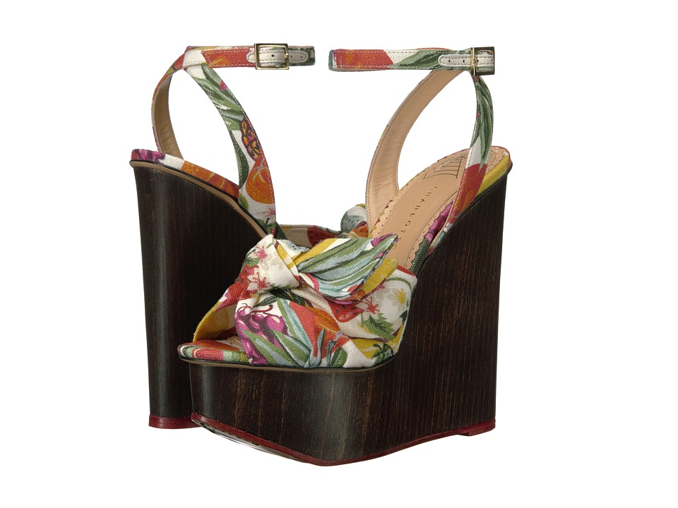 Charlotte Olympia - Miranda (Fruit Salad/Mahogany Printed Linen/Wood) Women's Wedge Shoes