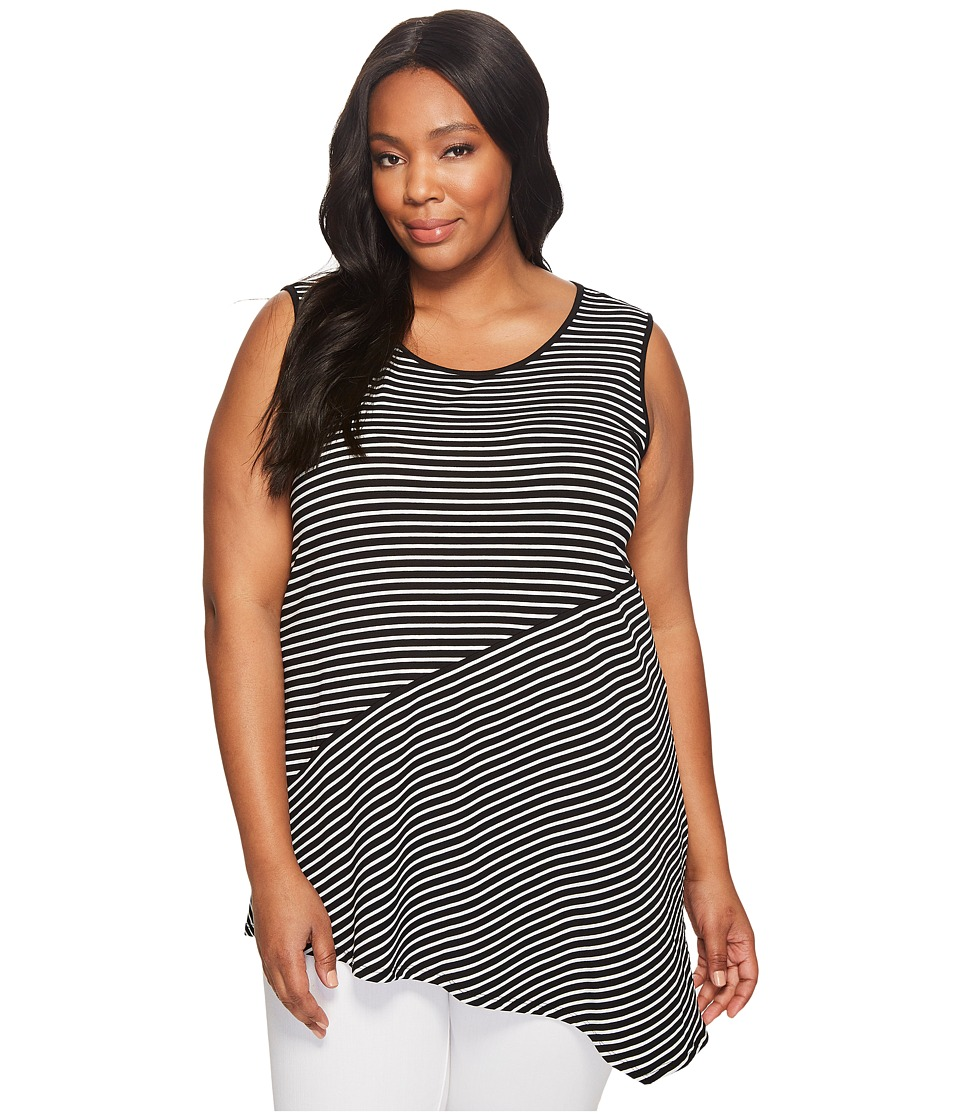 Vince Camuto Specialty Size - Plus Size Sleeveless Asymmetrical Hem Simple Stripe Top (Rich Black) Women's Clothing