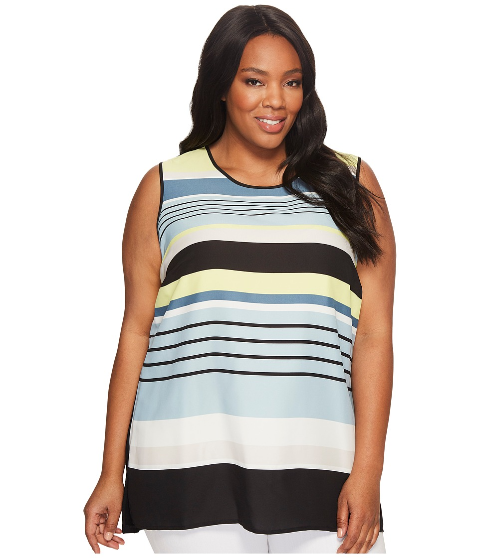 Vince Camuto Specialty Size - Plus Size Sleeveless Stripe Harmony Knit Back Top (Aqua Sphere) Women's Clothing