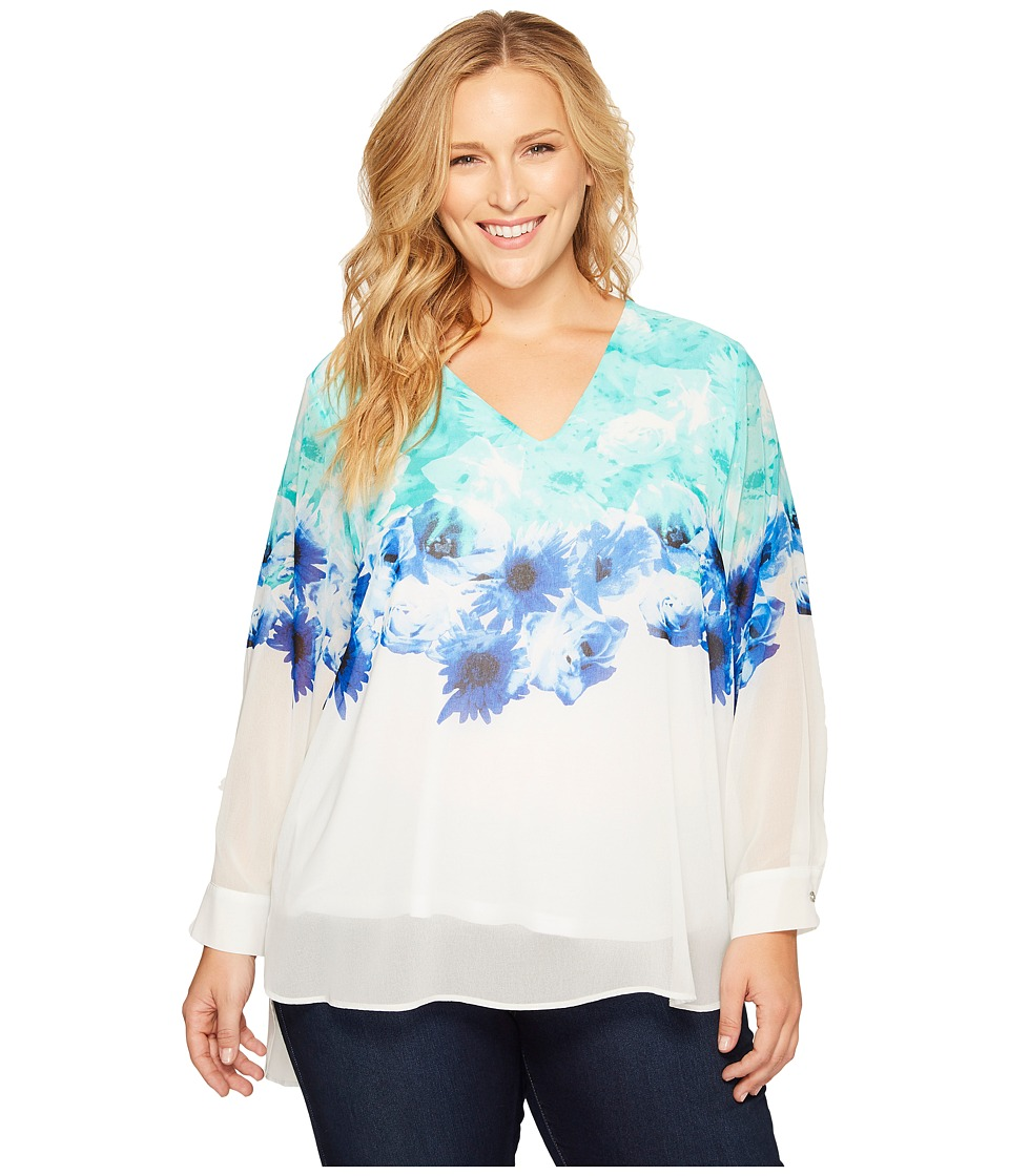 Calvin Klein Plus - Plus Size Printed V-Neck with High-Low Hem (Seaglass Combo) Women's Blouse