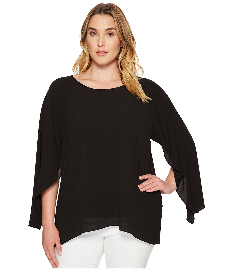 Calvin Klein Plus - Plus Size Split Sleeve Blouse (Black) Women's Blouse