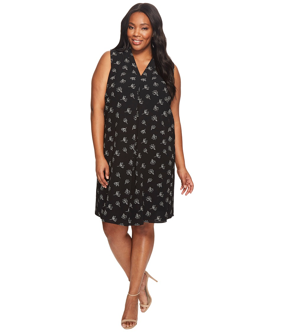 Vince Camuto Specialty Size - Plus Size Sleeveless Fluent Flowers Invert Pleat Dress (Rich Black) Women's Dress