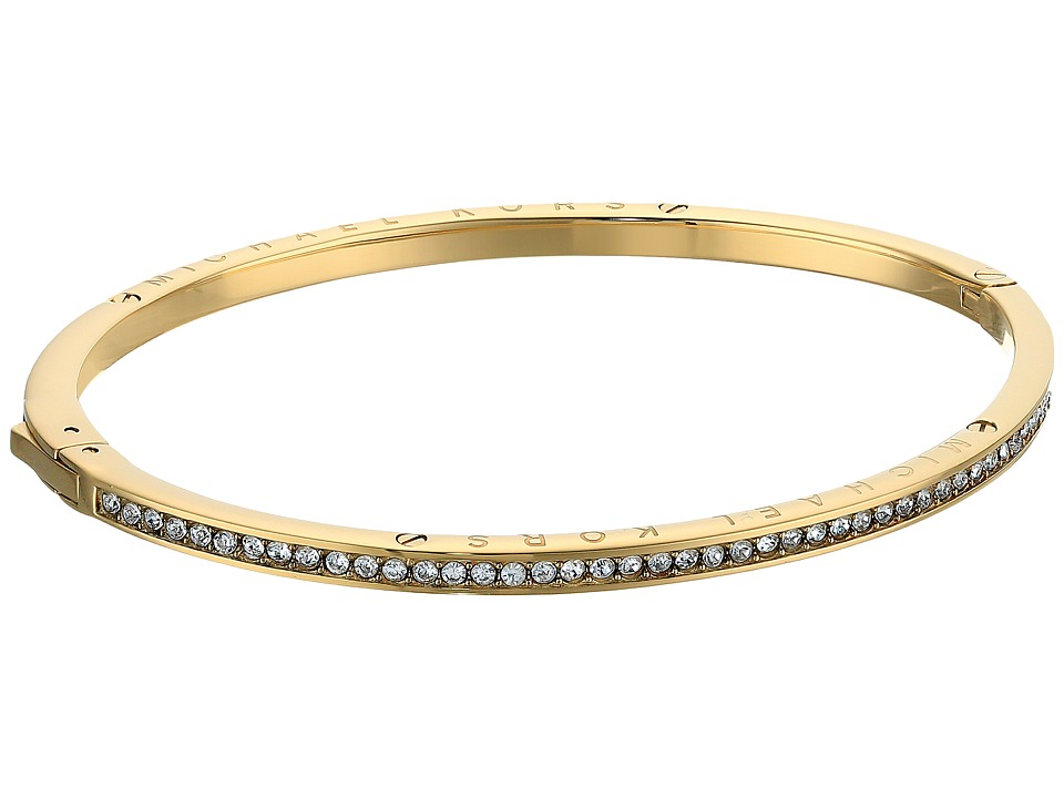 Michael Kors - Logo Channel Set Pave and Tone Hinged Bangle Bracelet (Gold) Bracelet