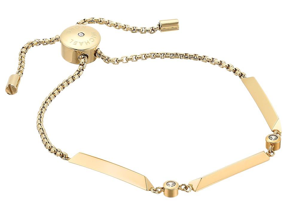Michael Kors - Tone and Crystal Slider Bracelet (Gold) Bracelet