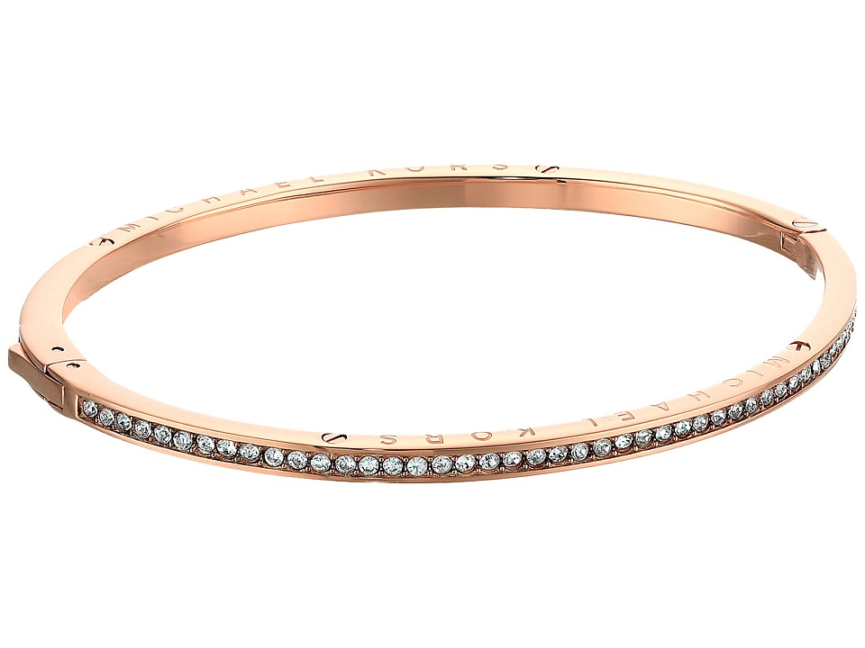 Michael Kors - Logo Channel Set Pave and Tone Hinged Bangle Bracelet (Rose Gold) Bracelet