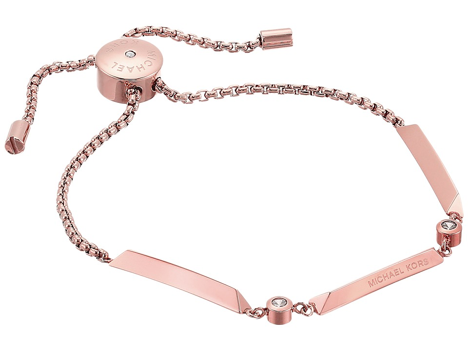 Michael Kors - Tone and Crystal Slider Bracelet (Rose Gold) Bracelet