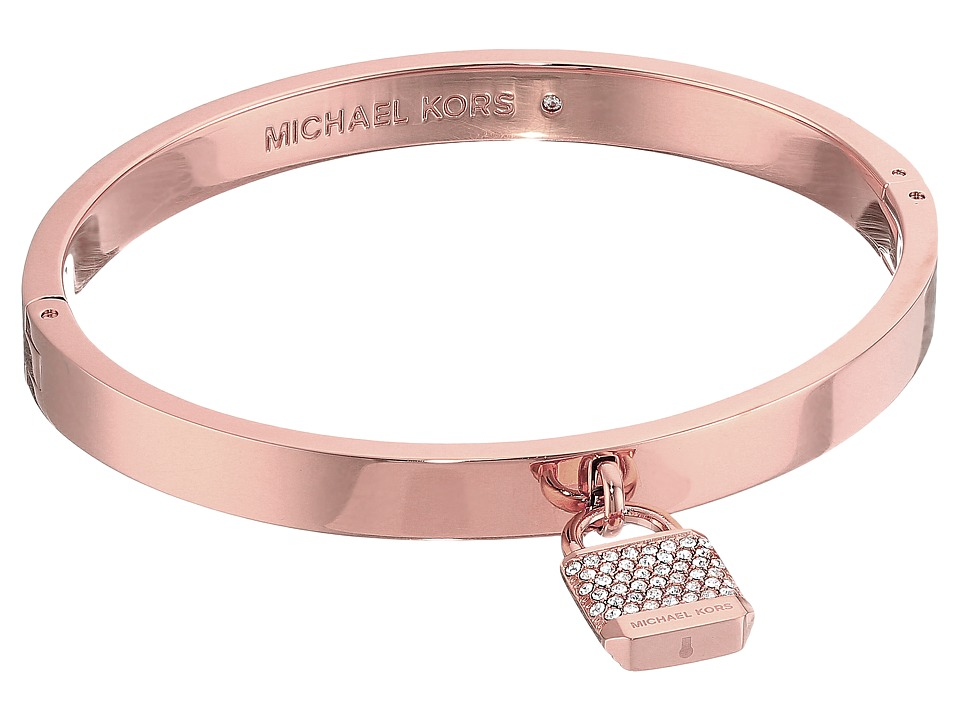 Michael Kors - Logo Tone and Pave Padlock Hinged Bangle Bracelet (Rose Gold) Bracelet