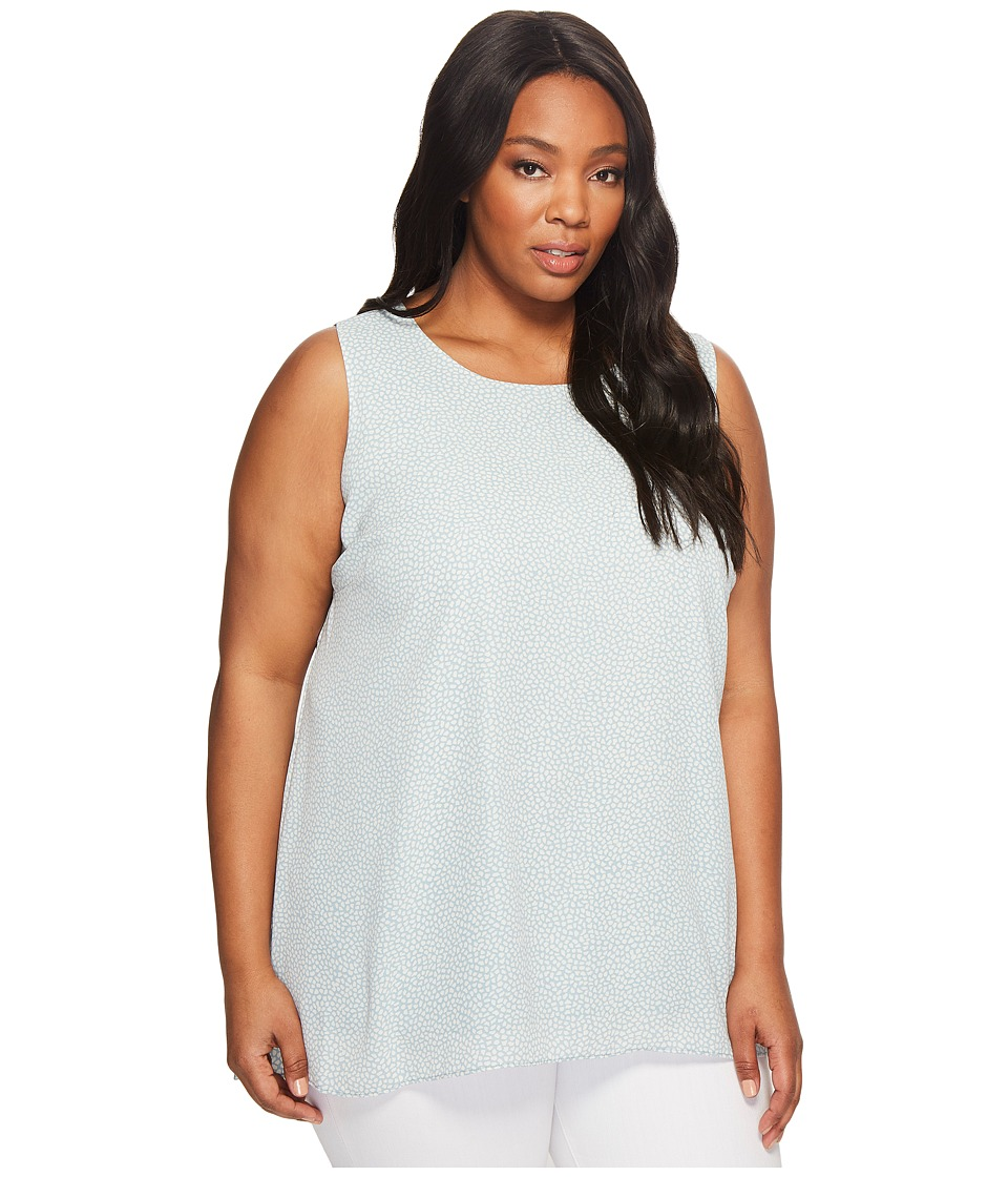 Vince Camuto Specialty Size - Plus Size Sleeveless Zen Pebbles High-Low Hem Blouse (Aqua Sphere) Women's Blouse