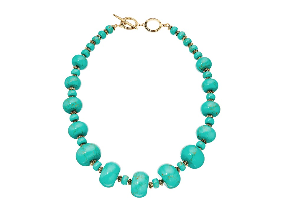 LAUREN Ralph Lauren - Graduated Rondell Beaded Collar Necklace (Turquoise) Necklace