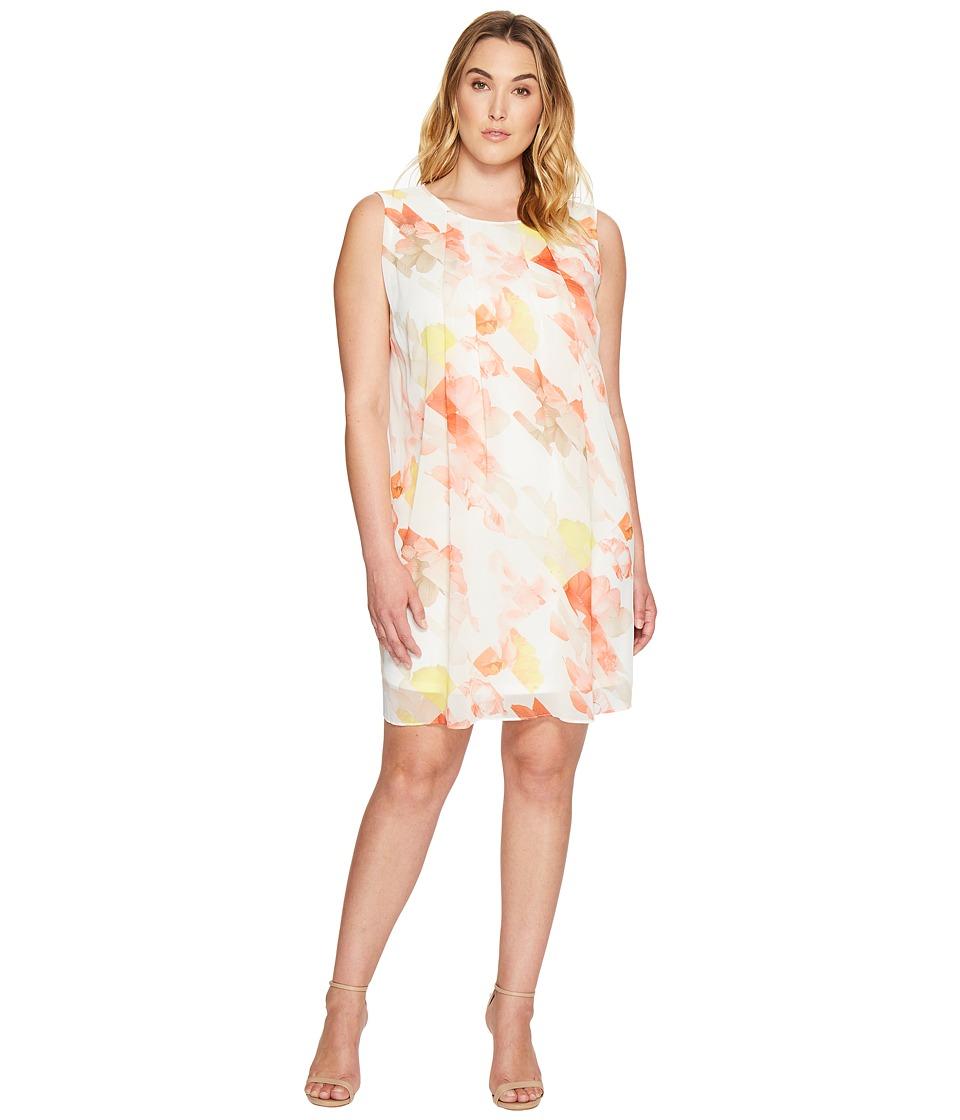 Calvin Klein Plus - Plus Size Pleat Front A-Line Dress (Porcelain Rose/Soft White Multi) Women's Dress
