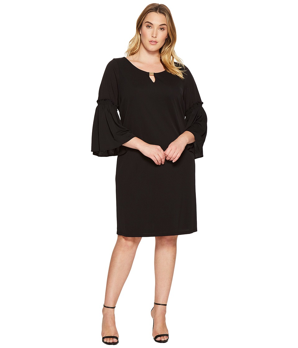 Calvin Klein Plus - Plus Size Flutter Sleeve Dress with Hardware (Black) Women's Dress