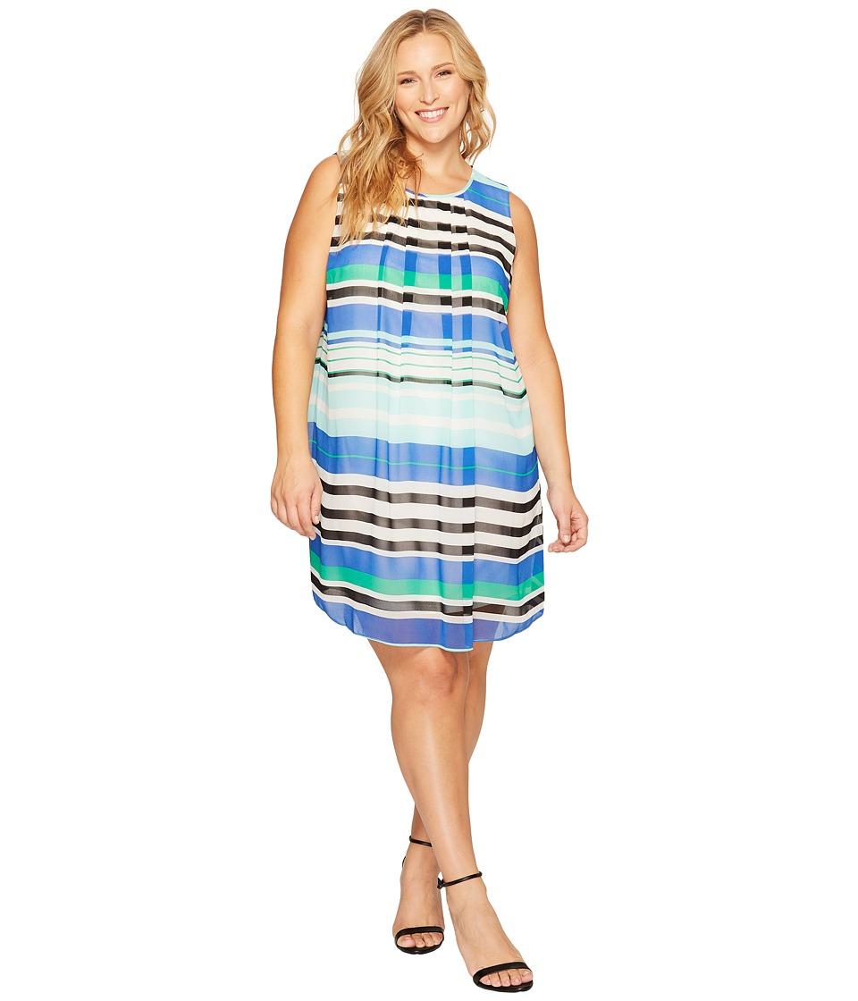 Calvin Klein Plus - Plus Size Printed A-Line Dress (Manganese Combo) Women's Dress