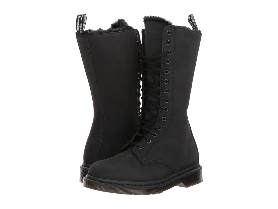 Dr. Martens 1B99 FL 14-Eye Zip Boot (Black Cascade Split) Women