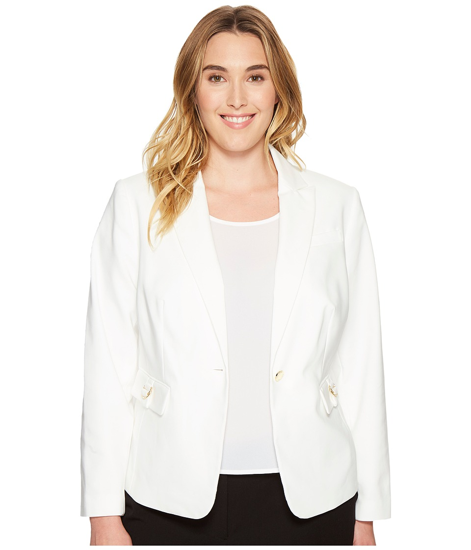 Calvin Klein Plus - Plus Size Single Button Jacket with Hardware (Soft White) Women's Coat
