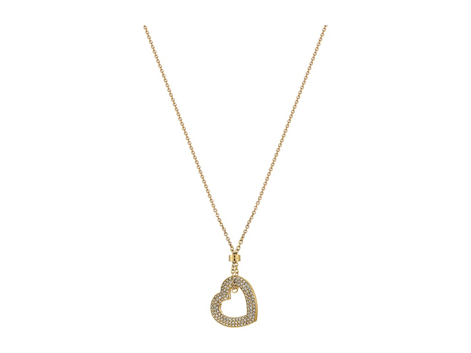 Michael Kors - Tone and Pave Open Heart Pendant Necklace (Gold) Necklace