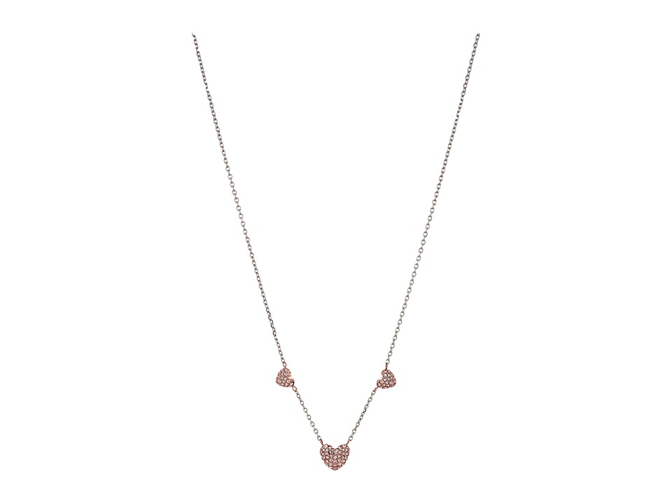 Michael Kors - Pave Hearts Rose Gold Tone and Peach Crystal Station Pendant Necklace (Silver) Necklace