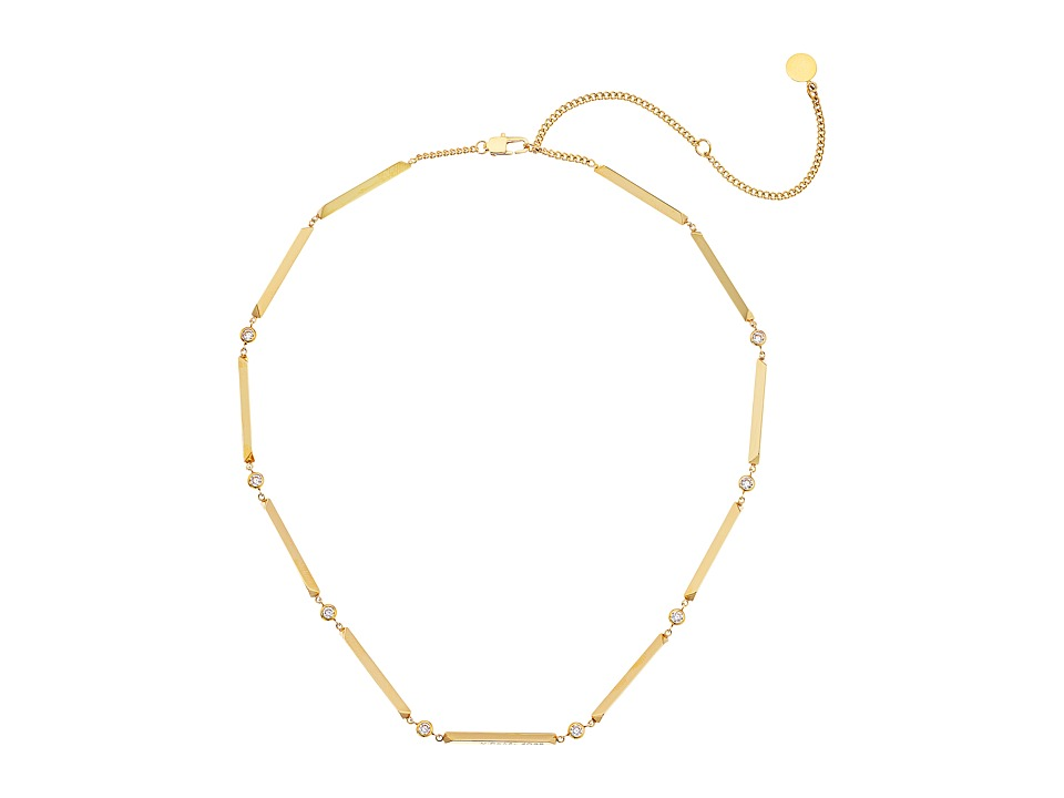 Michael Kors - Tone and Crystal Station Necklace (Gold) Necklace