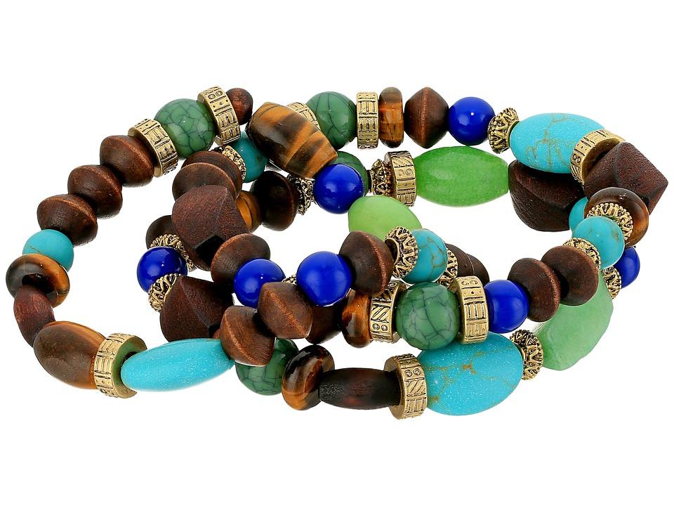 LAUREN Ralph Lauren - 3 Row Beaded Stretch Bracelet (Gold/Multi) Bracelet