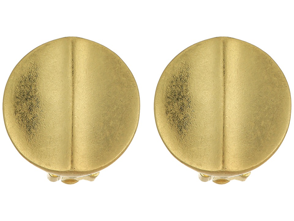 LAUREN Ralph Lauren - Round Metal Disk Button Earrings (Gold) Earring