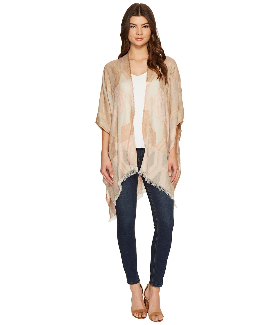 Echo Design - Denim Geo Ruana Poncho (White Sand) Women's Clothing