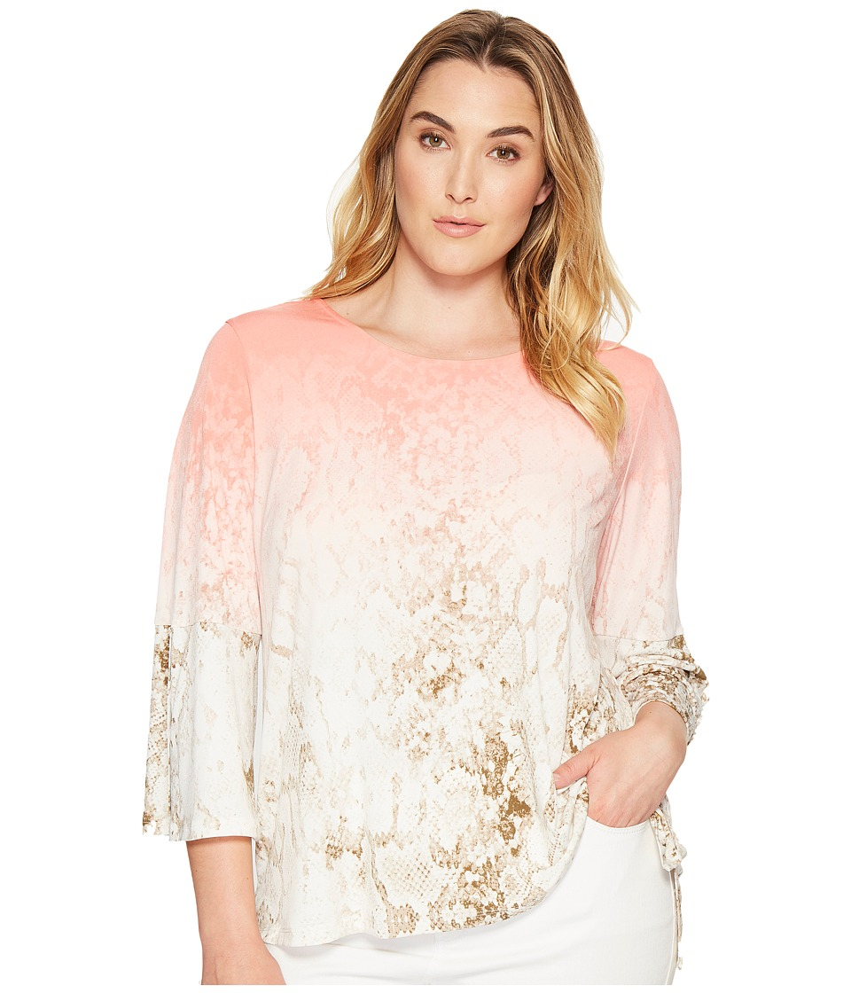 Calvin Klein Plus - Plus Size 3/4 Sleeve Top with Grommet Hardware (Porcelain Rose Multi) Women's Clothing