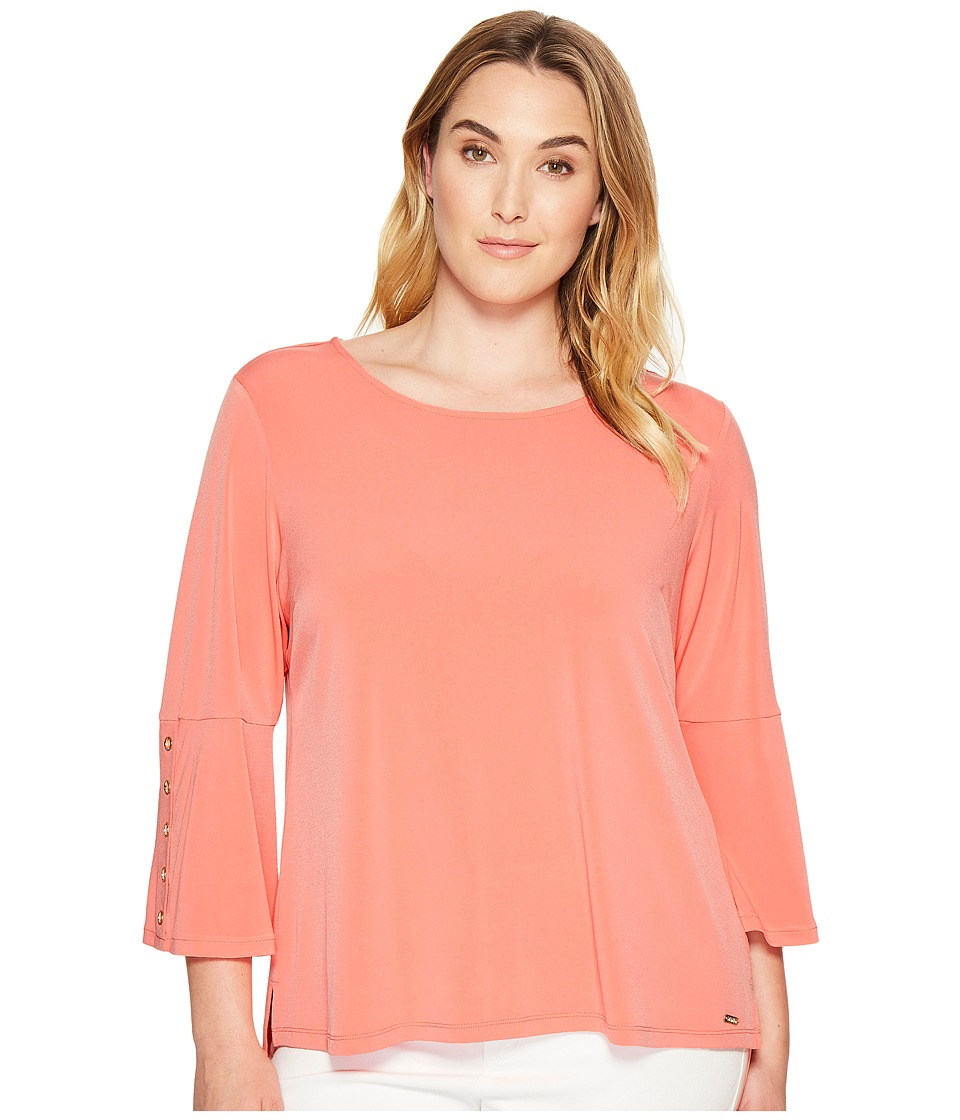 Calvin Klein Plus - Plus Size 3/4 Sleeve Top with Grommet Hardware (Porcelain Rose) Women's Clothing