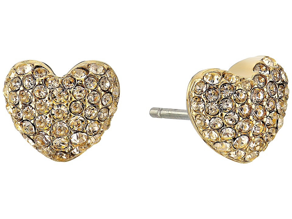 Michael Kors - Pave Hearts Tone and Light Colorado Crystal Heart Stud Earrings (Gold) Earring
