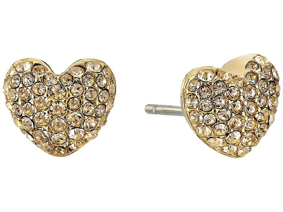 Michael Kors - Pave Hearts Tone and Light Colorado Crystal Heart Stud Earrings (Gold) Earring