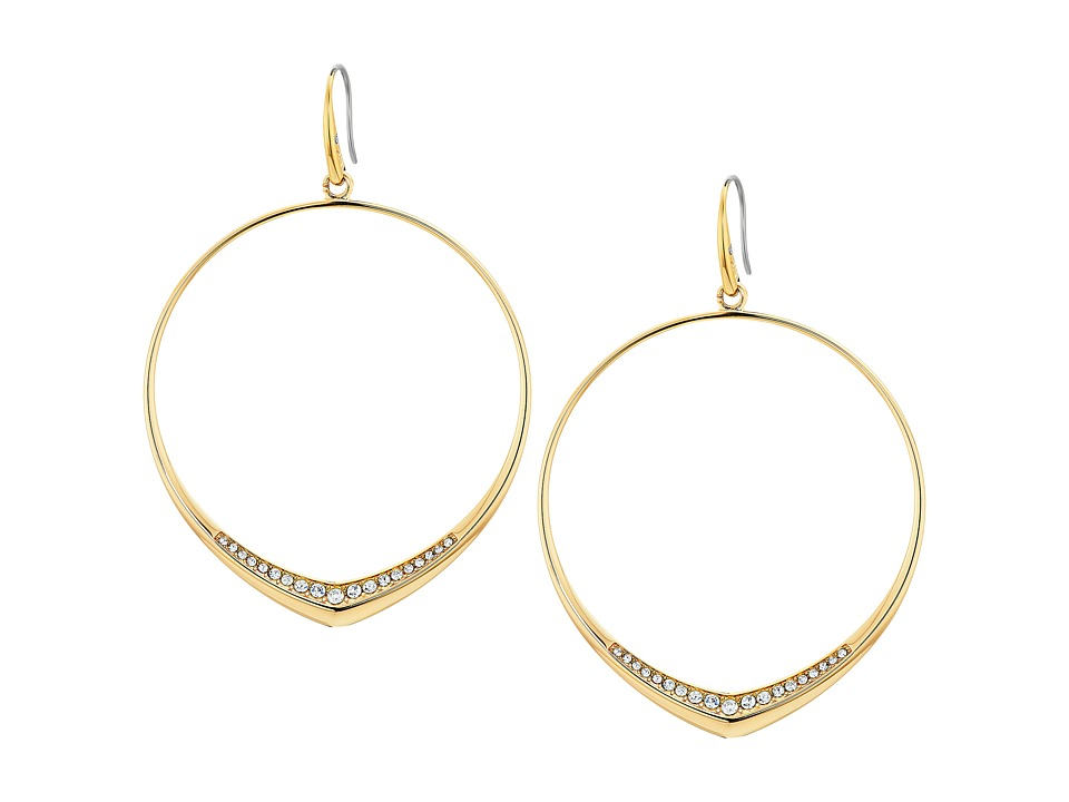 Michael Kors - Tone and Pave Drop Hoop Earrings (Gold) Earring