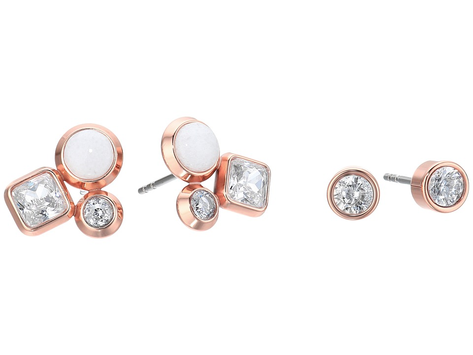 Michael Kors - Tone Crystal and White Jade Cluster Stud Earrings Set (Rose Gold) Earring