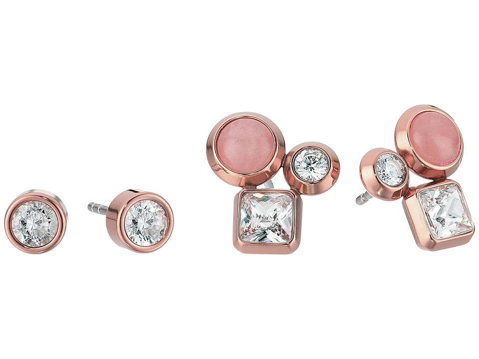 Michael Kors - Tone Crystal and Rose Quartz Cluster Stud Earrings Set (Rose Gold) Earring