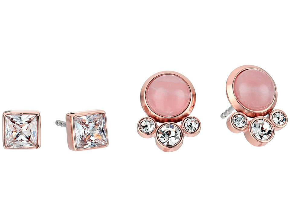 Michael Kors - Tone Crystal and Rose Quartz Stud Earrings Set (Rose Gold) Earring