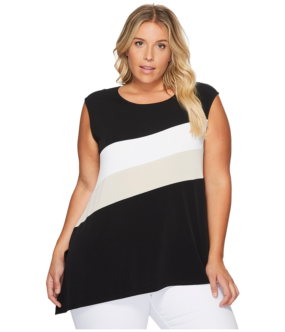 Calvin Klein Plus - Plus Size Sleeveless Angle Bottom Top with Stripe (Black) Women's Short Sleeve Knit