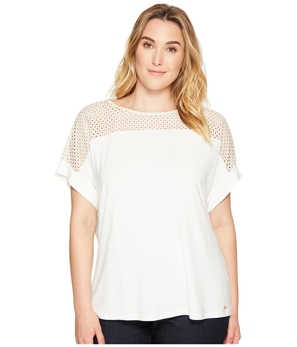 Calvin Klein Plus - Plus Size Short Sleeve Top with Lace Yoke (Soft White) Women's Short Sleeve Knit