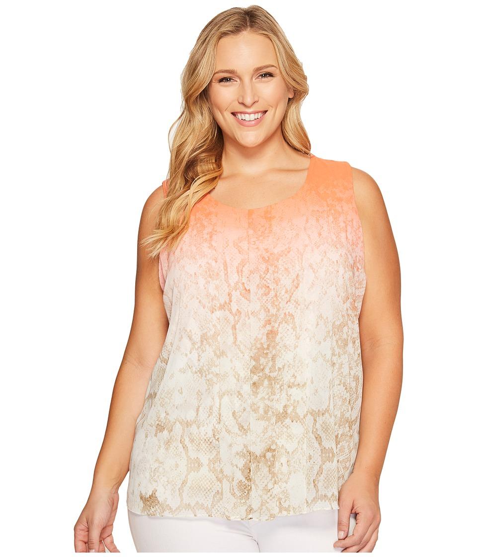 Calvin Klein Plus - Plus Size Sleeveless Print Top with Chiffon Overlay (Porcelain Rose Multi) Women's Sleeveless