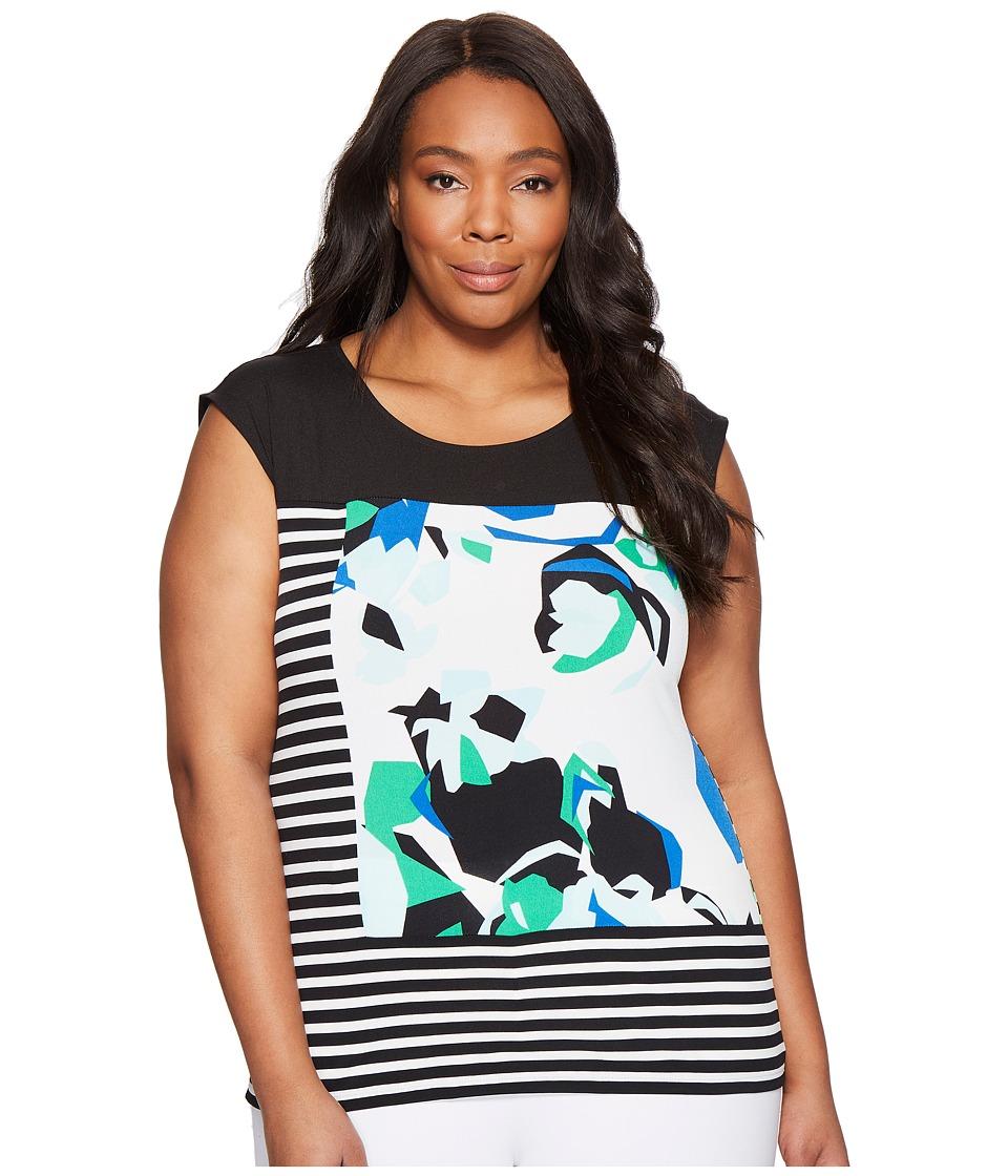 Calvin Klein Plus Plus Size Mixed Media Print and Striped Top (Soft White/Manganese Multi) Women