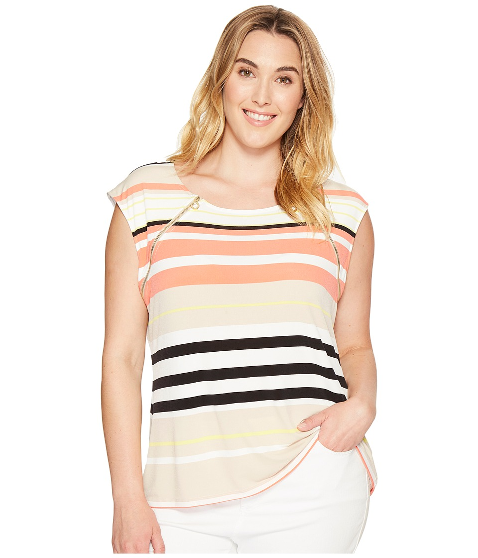 Calvin Klein Plus - Plus Size Sleeveless Top with Zipper Detail (Porcelain Rose/Latte Multi) Women's Sleeveless